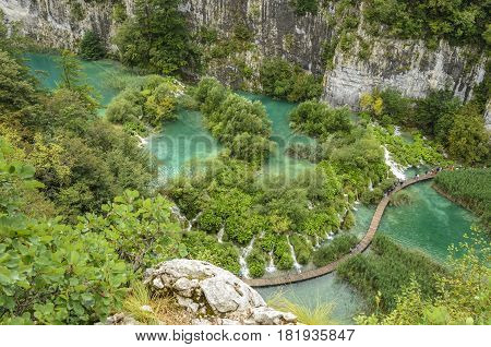 landscape of plitvicka lake national park unesco heritage site croatia.