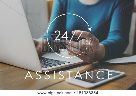 24/7 Help desk customer service overlay
