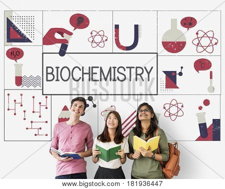 Group of students study biochemistry scientific research
