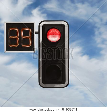 Traffic Light With Timer - Red Against Sky