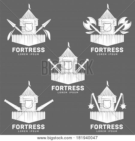Abstract vector set fortress label and logo template. Castle symbol. Wood tower silhouette with flags. Template for business card, poster, banner, design elements. Isolated on color background.