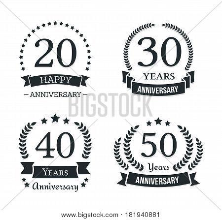 4 different anniversary emblems, vector eps10 illustration