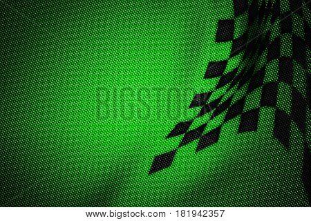 Green And Black Carbon Fiber Background.
