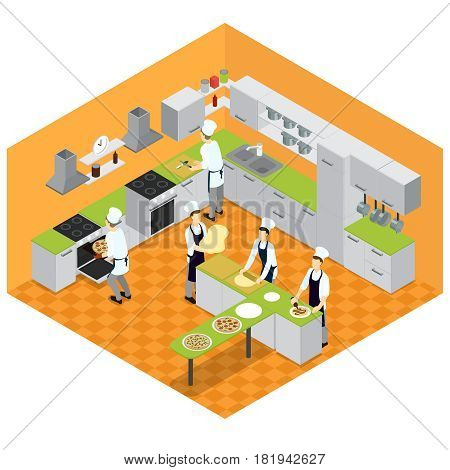 Isometric italian restaurant kitchen concept with furniture utensil and people cooking different kinds of pizza vector illustration