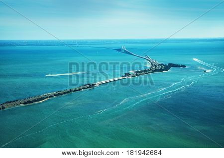 Aerial view on Sunshine Skyway Bridge close to St. Petersburg Florida