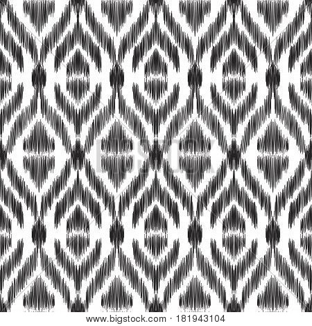 Vector illustration of the black and white colored ikat ornamental seamless pattern.  Scribble textured effect.