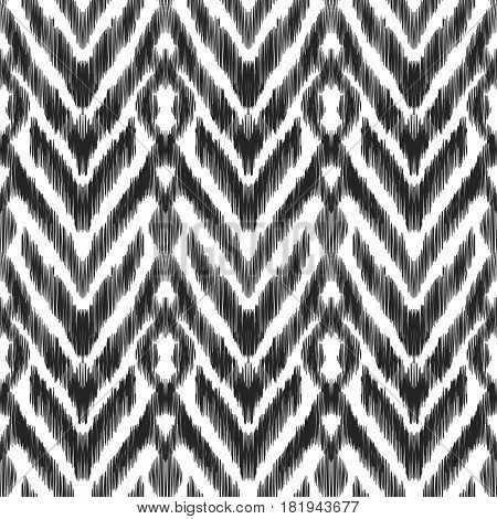 Vector illustration of the black and white colored ikat ornamental seamless pattern. Herringbone design.