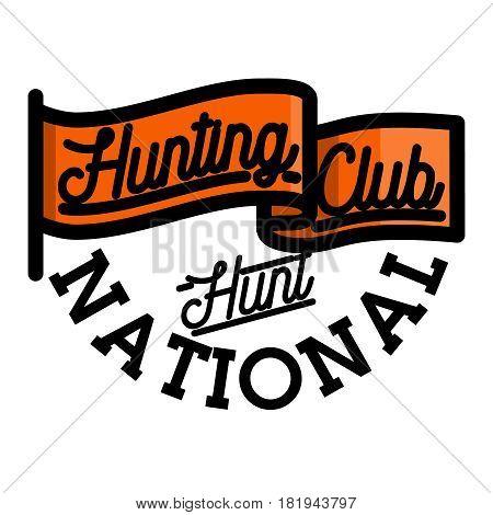 Color vintage hunting club emblem, label, badge and design elements. Vector illustration, EPS 10
