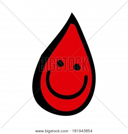 colorful hand drawn silhouette of blood drop icon vector illustration