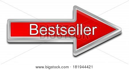 red Bestseller arrow button - 3D illustration