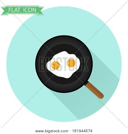 Fried eggs in a frying pan. Flat design vector illustration vector.