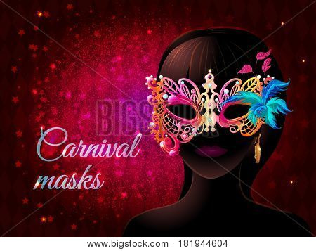 Cartoon masquerade party template with lady silhouette in carnival mask on light starry magic background vector illustration