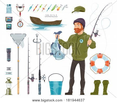 Fisherman elements set with fishing rods tackles floats baits reels bucket compass boat anchor lifebuoy flashlight gamepad isolated vector illustration