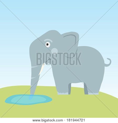The elephant drinks water. Flat design vector illustration vector.