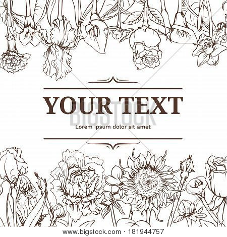Monochrome vintage floral background with sunflower iris calla narcissus peony carnation flowers vector illustration