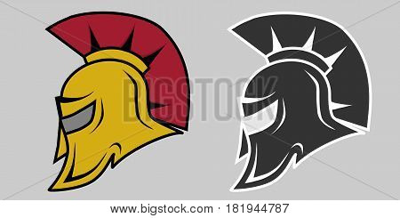 Helmet of the Spartan. Flat design vector illustration vector.