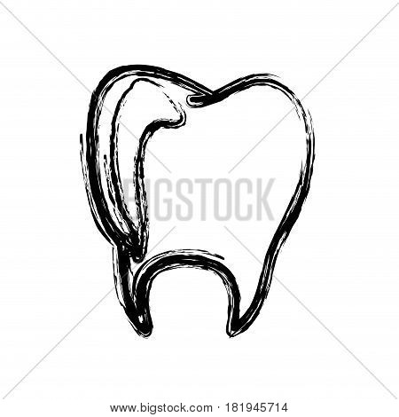 monochrome hand drawn sketch of tooth vector illustration