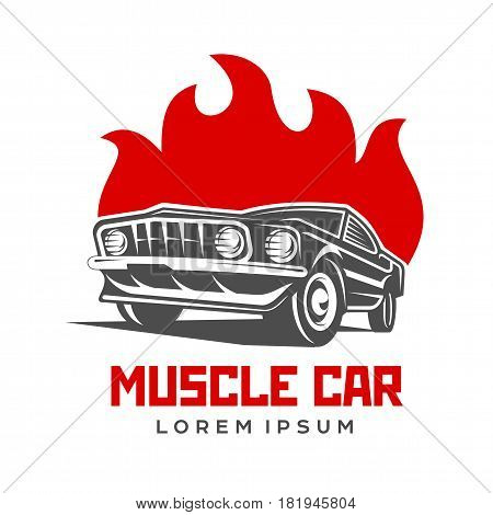 Abstract vector muscle car label and logo template. Retro car symbol. Silhouette vintage car with flame. Template for business card, poster, banner, design elements. Isolated on white background.