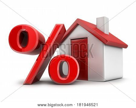 House Red And Sign Percent