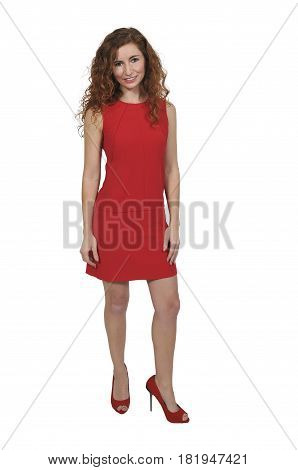 Beautiful Woman In A Red Dress
