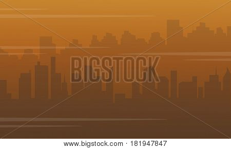 Silhouette of city with fog bad environment vector illustration