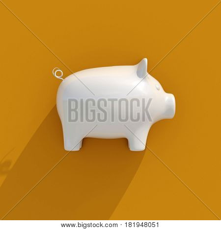 3d render: White Piggy Coin Bank on Orange Background for Money Savings