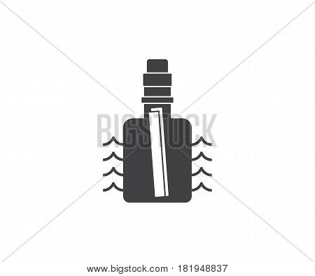 Sea rescue service logo or label template in outline style. Message bottle icon. Shipwreck letter bottle silhouette.