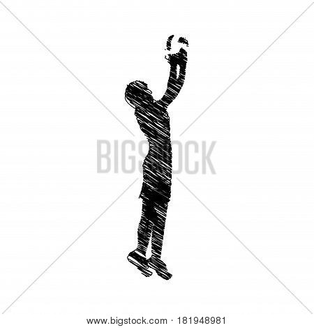 silhouette drawing man playing volleyball vector illustration