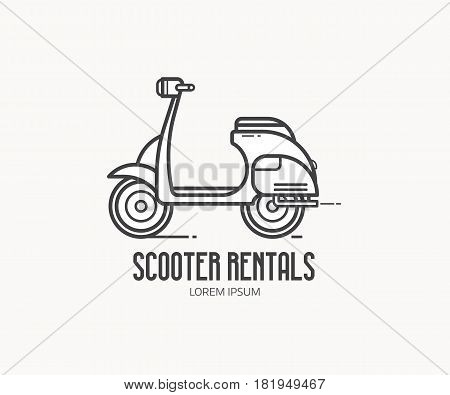 Scooter rental service logotype. Small motorcycle or moped label vector illustration isolated on white background. Motorbike rentals logo in thin line design.