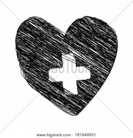 silhouette drawing heart with cross inside vector illustration