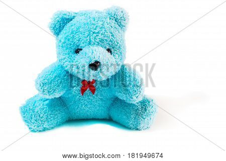 Nice and cute teddy bear, blue teddy bear isolated on white.