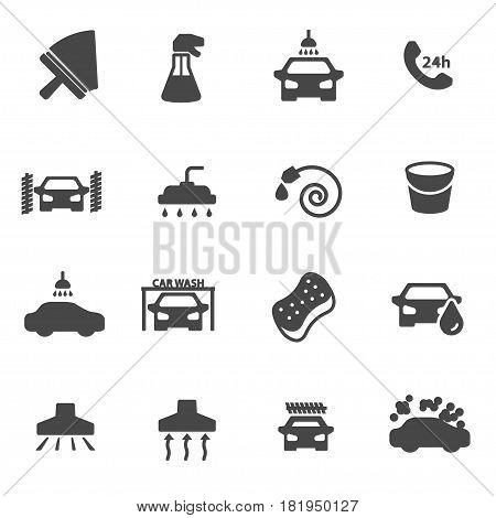 Vector black car wash icons set on white background