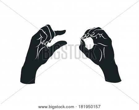 Gesture. A little bit sign. Two female hands showing a few of something. Vector illustration in sketch style isolated on a white background. Making a less signal by hands. White lines and dark grey silhouette.