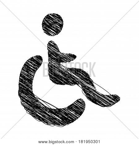 silhouette hand drawing wheelchair icon vector illustration