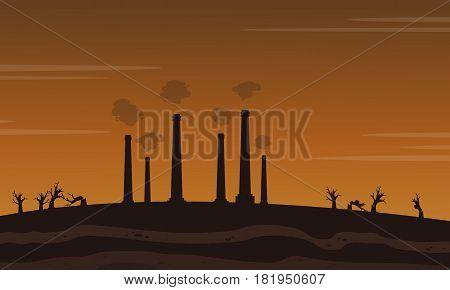 Factory waster bad environment landscape vector illusration