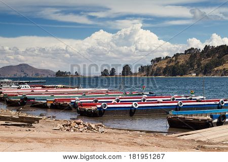 Colourful Ferries at the Lake Titicaca Bolivia