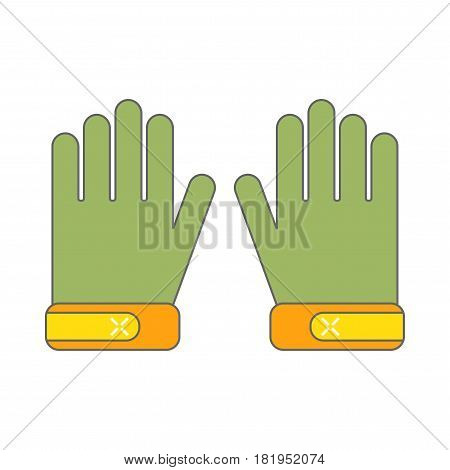 Protective gloves, working clothes. Flat color icon, object for design. Vector illustration