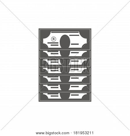 Bussiness icon, management. Simple vector icon of a stack of dollars. Line art style.