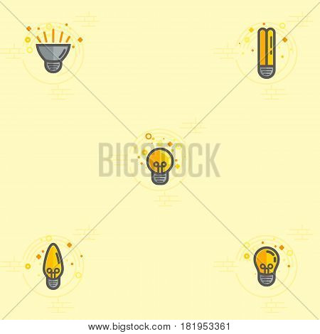 Light bulb and LED lamp. Vector color icons set.