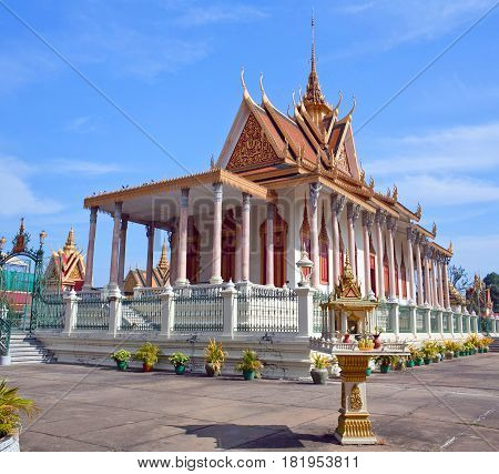 Ancient famous Silver Pagoda in Phnom Penh, Cambodia