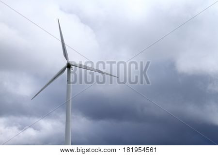 Wind turbine spinning wildly in strong wind in denmark