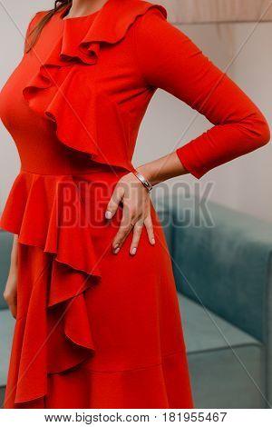 beautiful stylish ruffle dress on an attractive female body. Fashion dresses - ruffle and valance, beautiful dress models for fashion women