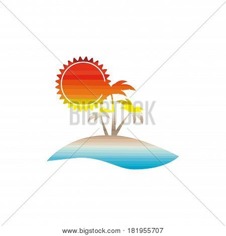 color background of sunny island with palms vector illustration