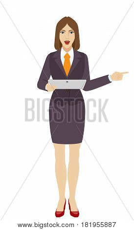 Businesswoman holding a digital tablet PC and pointing something beside of him. Full length portrait of businesswoman in a flat style. Vector illustration.