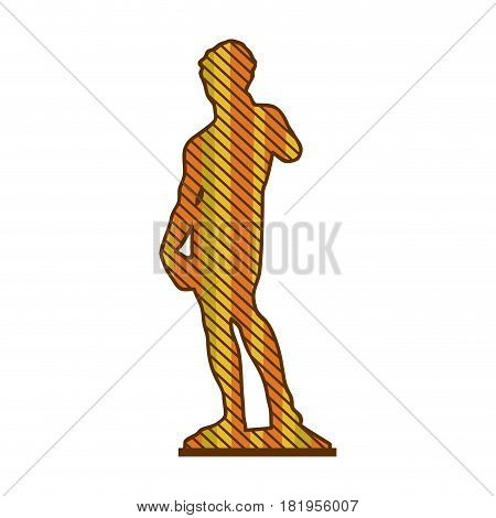 color silhouette of sculpture david made by buonarroti with background striped vector illustration