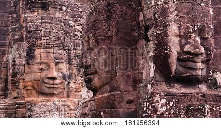 Ancient stone reliefs at the Prasat Bayon temple (late 12th - early 13th century) in Angkor Thom, Cambodia