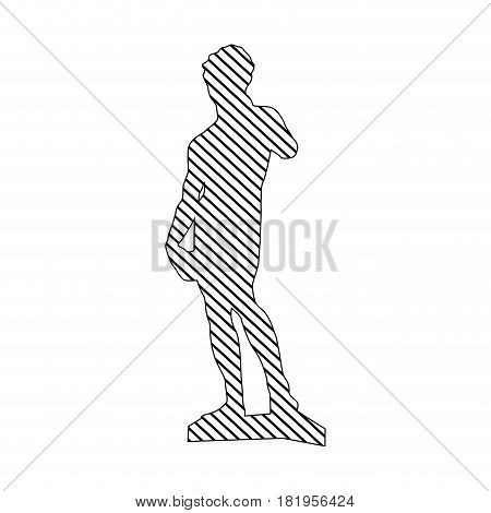monochrome silhouette of sculpture david made by buonarroti to striped vector illustration