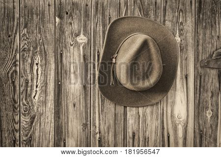 brown wool felt cowboy hat with leather headband hanging on weathered wooden wall of old barn, black and white platinum toned image