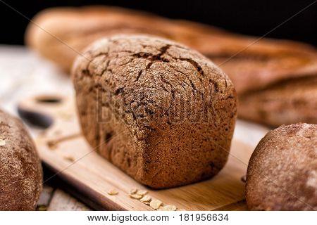 Still life - Fresh rye bread. Homemade traditional bread.