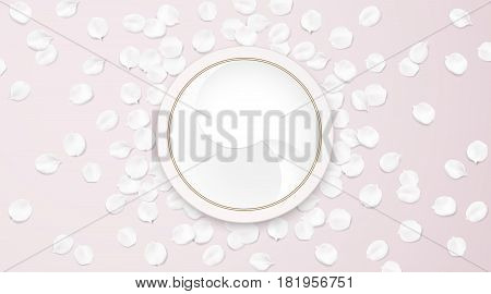 Fashion accessories collection. Makeup face skin cream with rose flower petals. Spring style organic cosmetics background. White and pink soft color romantic vector illustration design.